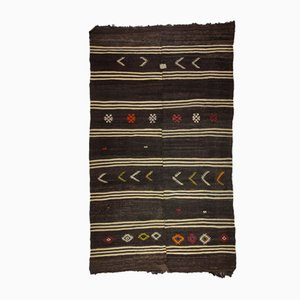 Minimalistischer gestreifter Mid-Century Kelim Teppich mit Volkskunst Motiven, 1960er