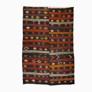 Vintage Turkish Multicolored Stripe & Black Kilim Rug with Folk Art Motifs, 1960s