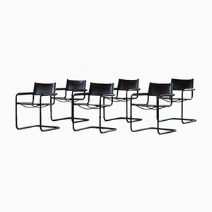 Vintage Cantilever Armchairs in Brown Leather from Linea Veam, Italy, 1970s, Set of 6