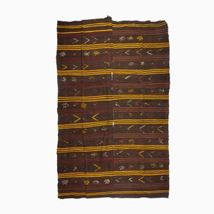 Vintage Turkish Sun-Faded Folk Art Kilim with Minimalist Stripes, 1960s
