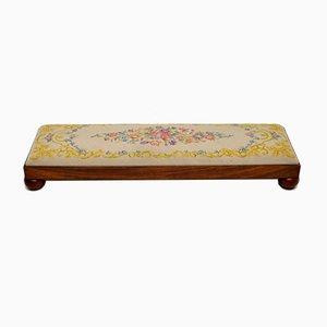 Antique Victorian Solid Walnut & Needlepoint Footstool