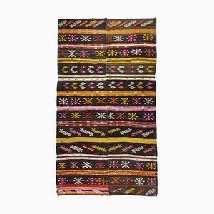 Türkischer Mid-Century Kelim Teppich aus Ziegenhaar mit Volkskunst-Motiven, 1950er
