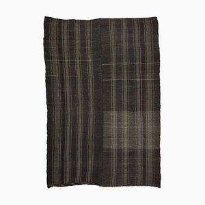 Vintage Modern Transitional Charcoal Striped Black Flat Weave Kilim Rug, 1970s