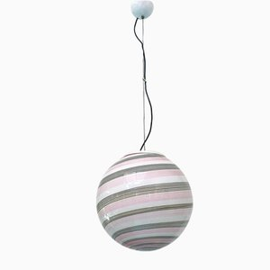Italian Murano Glass Sphere Pendant Lamp with Pink Concentric Motif, 1980s
