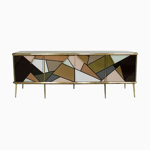 Italian Mid-Century Modern Solid Wood and Colored Glass Sideboard