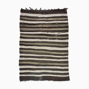 Ungefärbter türkischer Mid-Century Flachgewebe Kelim Teppich mit minimalistischem Streifenmuster, 1970er