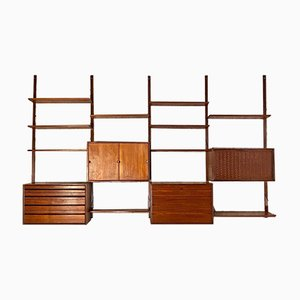 Italian Teak Wall Bookcase with Shelves and Modules from ISA Bergamo, 1960s
