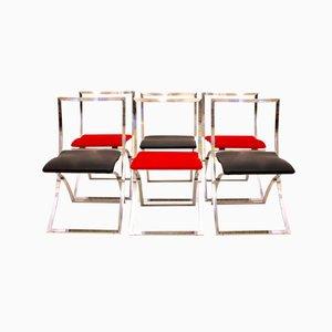 Luisa Klappstühle in Rot & Schwarz von Marcello Cuneo für Mobel, 1970er
