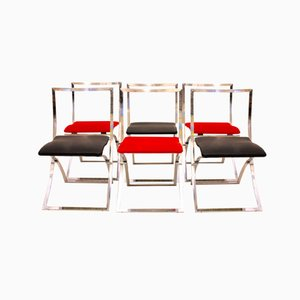 Red and Black Luisa Folding Chairs by Marcello Cuneo for Mobel, 1970s, Set of 6