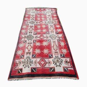 Vintage Anatolian Turkish Geometric Pastel Wool Oushak Runner Rug, 1950s