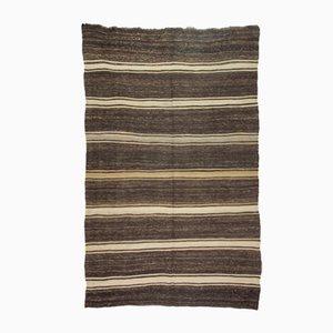 Vintage Turkish Minimalist Striped & Undyed Kilim Rug