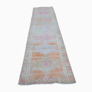 Abstract Turkish Oushak Runner Carpet with Tribal Design