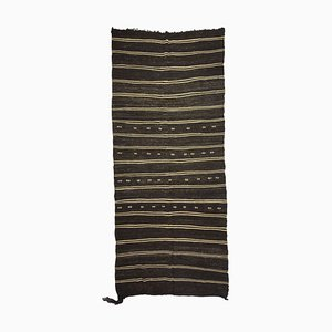 Long and Narrow Turkish Minimalist Striped Black and White Kilim Rug, 1960s