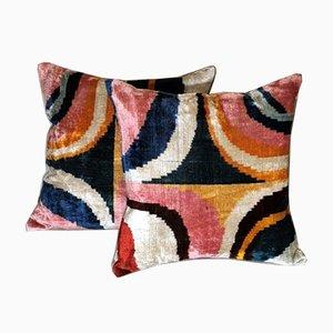 Handmade Ikat Fabric Pillows, Uzbekistan, Set of 2