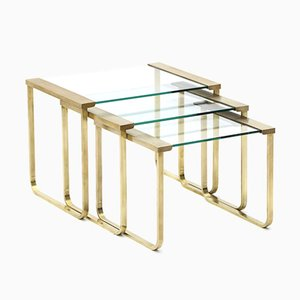 Nesting Tables in Brass and Glass, 1970s, Set of 3