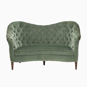 2-Sitzer Sofa in grünem Samt, 1940er