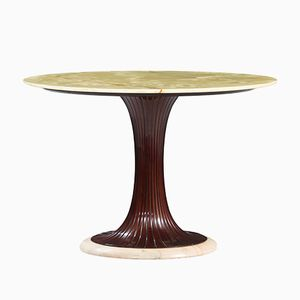 Mahogany and Marble Onyx Table by Osvaldo Borsani