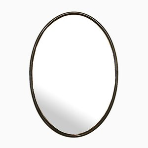 Mid-Century Oval Wall Mirror in Brass and Caramel Glass, Italy, 1960s