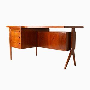 Dänischer Moderner Freistehender Teak Schreibtisch, 1960er