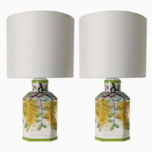 Italian Lamps with Hand-Painted Mimosas, 1970s, Set of 2