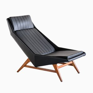 Lounge Chair in Leather and Beech by Svante Skogh for AB Hjertquist & Co, Sweden, 1955