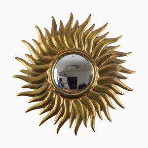 Antique Sunburst Wall Mirror with Convex Mirror Glass