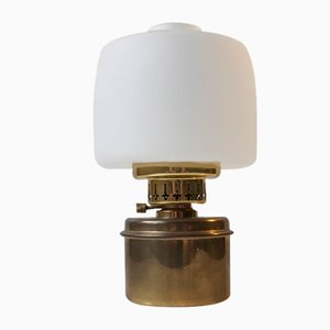 Oil Table Lamp in Brass and Opaline Glass by Hans Agne Jakobsson for Hans-Agne Jakobsson AB Markaryd, 1960s