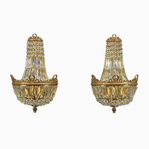 Empire Style Crystal Glass and Brass Sconces from Palwa, 1960s, Set of 2