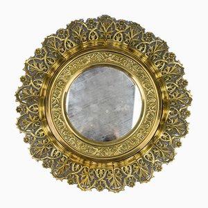 Antique Round Bronze and Brass Mirror in Sunburst Shape