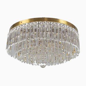Art Deco Crystal and Brass Five-Tiered Flush Mount Chandelier