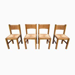Belgian Brutalist Oak & Papercord Chairs, 1960s, Set of 4