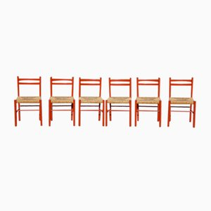 Italian Red Wood & Papercord Carimate Chairs Attributed to Vico Magistretti, 1960s, Set of 6