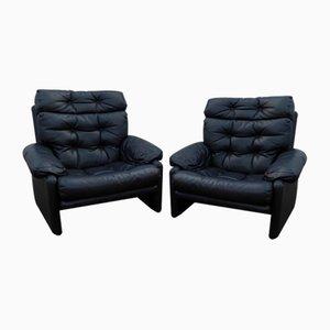 His & Hers Coronado Stühle aus dunkelgrauem Leder von Tobia Scarpa für B&B Italia / C&B Italia, 2er Set