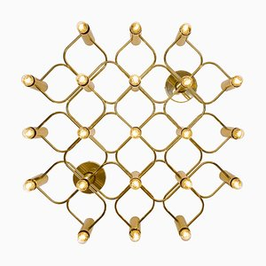 Large Brass Wall or Ceiling Lamp with 21 Lights from Leola, 1970s