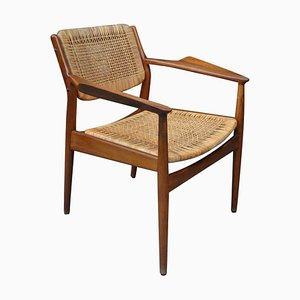 Vintage Teak & Rattan Model 51 Armchair by Arne Vodder for Sibast