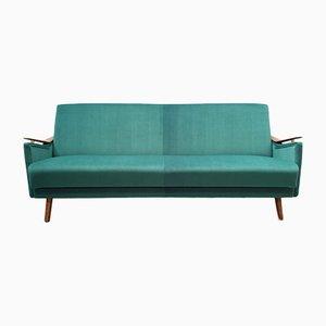 Mid-Century Danish Sofa Bed in Green Velvet, 1960s