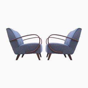 Bentwood Armchair in Navy Blue by Jindřich Halabala, 1930s