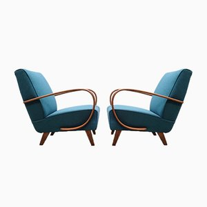 Bentwood Armchair in Dark Turquoise by Jindřich Halabala, 1930s