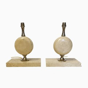 Egg-Shaped Table Lamps in Travertine by Philippe Barbier, 1960s, Set of 2