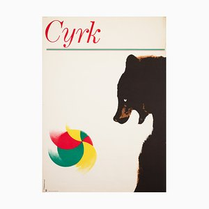Polish Circus Poster with Bear with Ball by Holdanowicz, 1965