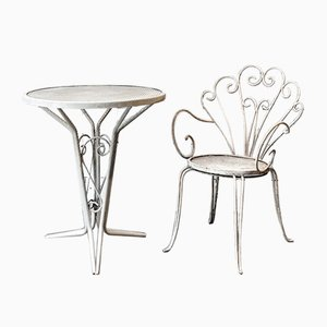 Italian Garden Table and Chair, 1950s, Set of 2
