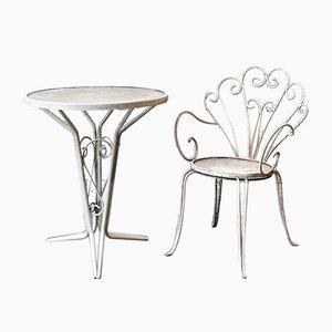 Tavolo da giardino e sedia, Italia, anni '50, set di 2