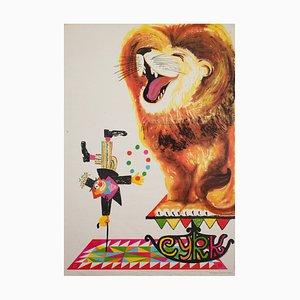 Polish Circus Poster with Clown and Lion by Miedza-Tomaszewski, 1982
