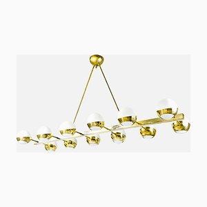 Mid-Century Italian Brass & Opaline Murano Glass Lamp, 1960s