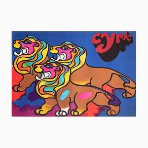 Polish Circus Poster with 3 Lions by Jodlowski, 1970s