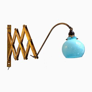 Early 20th Century Italian Brass Pantograph Wall Lamp with Blue Glass, 1900s