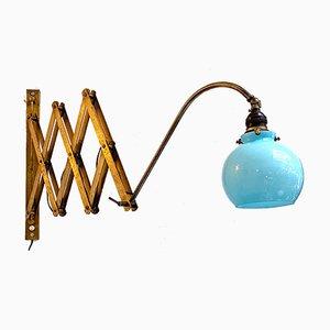 Italienische Pantograph Wandlampe aus frühem 20. Jahrhundert mit blauem Glas, 1900er