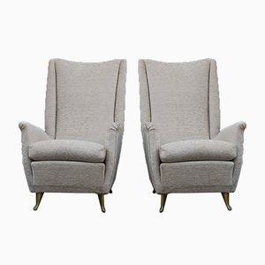 Armchairs in Gilded Aluminum & Velvet from ISA, 1950s, Set of 2