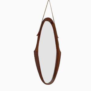 Italian Mid-Century Modern Teak Oval Mirror with Original Rope, 1960s
