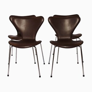 Model 3107 Series 7 Chairs by Arne Jacobsen and Fritz Hansen, 1967, Set of 4